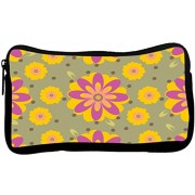 Snoogg Pink Floral Poly Canvas Student Pen Pencil Case Coin Purse Utility Pouch Cosmetic Makeup Bag