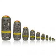 Toolart® Elephants Stacking Set of 10 Wooden Russian Nesting Dolls