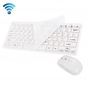 JK-903 draadloos 2.4 GHz Mini Toetsenbord met 78 toetsen en cover + draadloze optische Muis met ingebouwde USB ontvanger voor PC & Laptop Wit