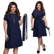 Vestido Casual E-Thinker mujer elegante causal de color solido - Azul oscuro