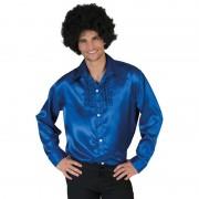 Merkloos Voordelige blauwe rouche blouse voor heren 56-58 (2XL/3XL) - Carnavalsblouses