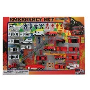 Lvnv Toys@Metro Police Force & Fire Rescue Emergency Crew 44 Piece Mini Toy Diecast Vehicle Play Set
