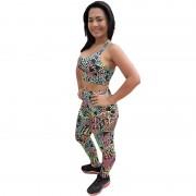 Conjunto Fitness Calça Legging Estampada + Top em - - DB110