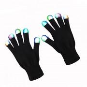 ZPTONE LED Gloves Finger Lights Fingertips Flashing 3 Colors 6 Modes Black Rave Gloves Halloween Costume Party Favors Light Up Toys Novelty Christmas Gift