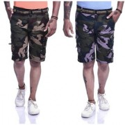 Timbre Men Army Cargo Shorts Camouflage Shorts For Men Combo Pack Of 2 - 9 Pockets - Free Waist Belt