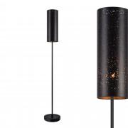 [lux.pro]® Lámpara de pie moderna con pantalla negra y pie de metal - interruptor de pie - diseño industrial