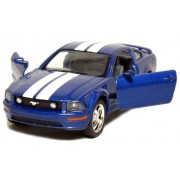 """5"""" Die-cast 2006 Ford Mustang GT 1/ 38 Scale, Pull Back n Go Action (Blue with White Racing Stripes)"""