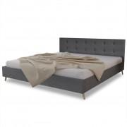 vidaXL Kiváló minőségű fa ágy szövetkárpittal 200 x 160 cm sötétszürke