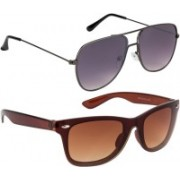 NuVew Retro Square, Wayfarer Sunglasses(Brown, Grey)