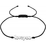 Love you armband koord 925 zilver
