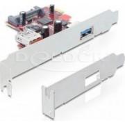 Placa PCI Express Delock cu 1 x port exterior si 1 x port interior USB 3.0
