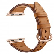 Quality Genuine Leather Watch Band Strap Replacement for Apple Watch Series 5/4 40mm / Series 3/2/1 38mm - Brown