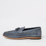 River Island Mens Blue leather woven tassel front loafers (9)