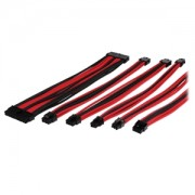 Set cabluri prelungitoare Thermaltake TtMod Sleeve Cable Kit, cleme incluse, 300mm, Black / Red