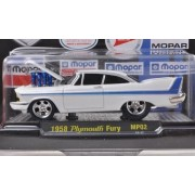 Plymouth Fury Tuning, Met. White/Blue, 75 Years Mopar , 1958, Model Car, Ready Made, M2 Machines 1:64