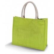 Kimood Jute lime groene shopper/boodschappen tas 42 cm