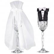 Декорация ритуални чаши, чаши за сватба или за моминско и ергенско парти - Bride & Groom