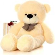 Multi Soft Fabric India Kid's 4 Feet Jumbo Teddy Bear Stuffed Soft Push Toy Good Quality Fabrics (Cream)