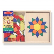 Sabloane si forme geometrice din lemn Melissa and Doug, 5 sabloane, 120 figuri geometrice