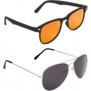 Zyaden Rectangular, Aviator Sunglasses(Multicolor, Black)