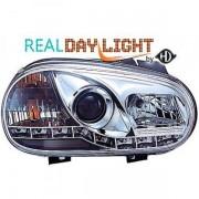 Set fari fanali proiettori anteriori TUNING VW GOLF IV 1997-2003 cromati con luce DIURNA DRL DAYLINE LED omologati R87