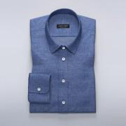 Tailor Store Blå linneskjorta med business-krage