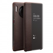 QIALINO Litchi Texture View Window Genuine Leather Phone Shell Case for Huawei Mate 30 Pro - Dark Brown