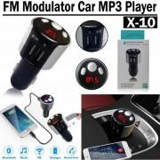 FM трансмитер,2 x USB, Bluetooth, Hands Free, CAR MP3 player X10