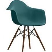 Vitra DAW stoel kuip oceaanblauw onderstel donker esdoorn