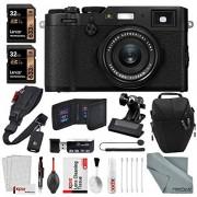 Fujifilm X100F Digital Camera (Black) + Quick Release Shoulder Strap, 2X 32GB Mempry Card, Clip Clamp + Xpix Deluxe Cleaning Accessories