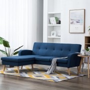 vidaXL Ъглов диван, тапицерия от текстил, 186x136x79 см, син