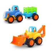 Playking Happy Engineering Unbreakable Automobile Car, 2 Pcs - Farmer Tractor and Engineering Bulldozer
