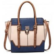 Tříbarevná kabelka s visacím zámkem Miss Lulu modrá
