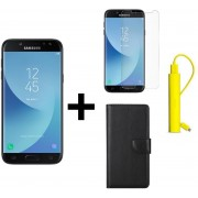 Samsung Galaxy J5 2017 - 16 GB - Zwart + Portemonnee hoesje Zwart + tempered glass + Nokia 2600 mAh Powerbank Geel