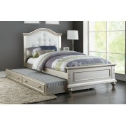 2 pc Trista collection silver finish wood twin trundle bed white tufted headboard