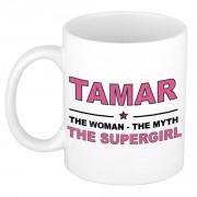 Bellatio Decorations Tamar The woman, The myth the supergirl pensioen cadeau mok/beker 300 ml