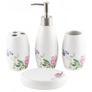 Set baie ceramica floare rosie (4 piese)