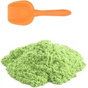 UNTOLD 1 KG KINETIC SAND BOX WITH HANDLE WITH FREE 6 PIECE AND 1 SHOVEL TOY MOLDS (GREEN COLOR)