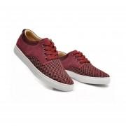 Zapatillas Plana Zapatos Casuales Lona Y Mate De Ecocuero Para Hombre -Rojo