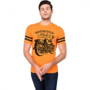 TRENDS TOWER Half Sleeve Round Neck Mens T-Shirt Orange Color Motor Cycle Club Graphics Print