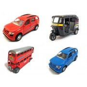 Combo of 4 Vehicle Toys | Mahindra XUV 500 Car, Mahindra XUV 500 Car, Auto Rickshaw and Double Decker Bus Toy for kids |Toys for Show piece | Miniature/Model Car Toys |Pull back and Go | Openable Doors | Red, Blue, Black and Red Color, Set of 4 Toys