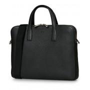 Boss Crosstown Slim Computer Leather Bag Black