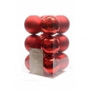 Decoris 12x Kerst rode kerstballen 6 cm kunststof mat/glans