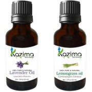KAZIMA Combo Set of Lavender Oil and Lemongrass Essential Oil ( Each 15ml ) Ideal for use in Promotes Hair Growth Moisturizes Skin Reduces Acne scars Face Health Benefit Massage