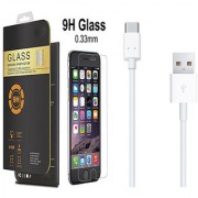 Oneplus 3T 9H Curved Edge HD Tempered Glass with Type C USB Cable