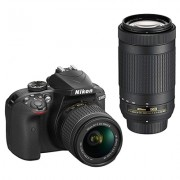 Nikon D3400 Digital Camera Kit with Nikkor 18-55mm,70-300mm f/4.5-6.3G ED VR Lens, 16 GB SD Card, DSLR Bag (Open Box)