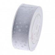 Szalag fehér csillagokkal 40mmx20m ezüst