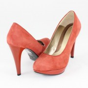 Pantofi piele intoarsa dama - coral, Nike Invest - toc inalt - M137-CRZB