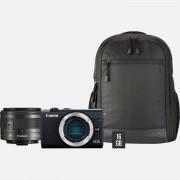 Canon EOS M200 + Objectif EF-M 15-45mm + Sac à dos + Carte SD