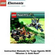 """INSTRUCTION MANUALS for Lego Agents Set #8630 """"MISSION 3: GOLD HUNT"""""""